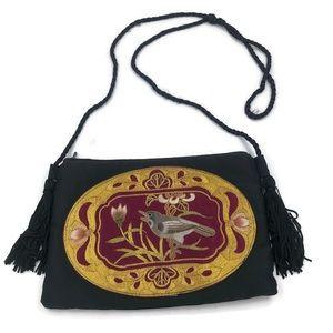 Charisma Asian Embroidered Bird Black Satin Purse